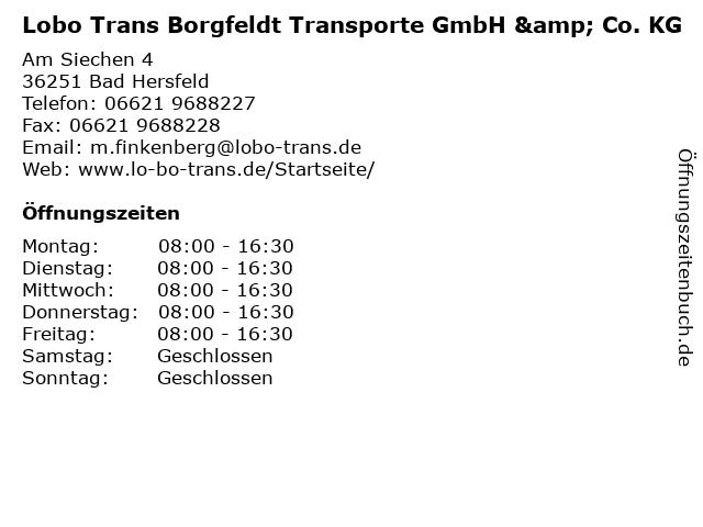 Lobo Trans Borgfeldt Transporte GmbH & Co. KG in Bad Hersfeld: Adresse und Öffnungszeiten