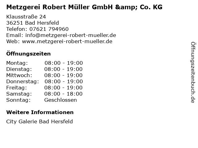 Metzgerei Robert Müller GmbH & Co. KG in Bad Hersfeld: Adresse und Öffnungszeiten