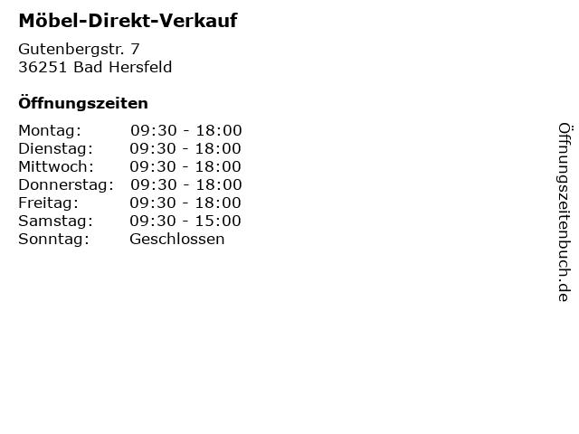 ᐅ Offnungszeiten Mobel Direkt Verkauf Gutenbergstr 7 In Bad