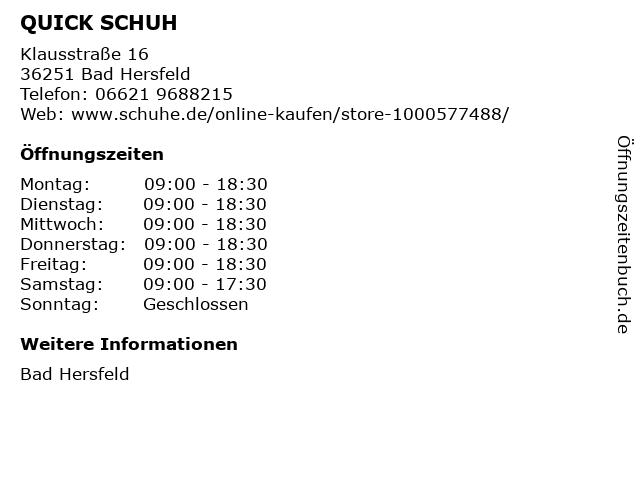 QUICK SCHUH in Bad Hersfeld: Adresse und Öffnungszeiten