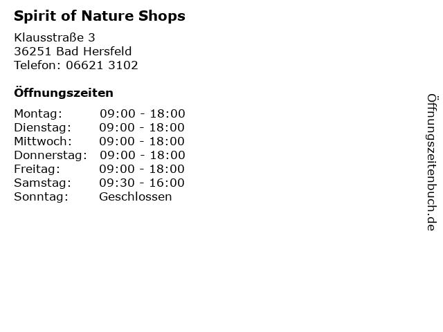 Spirit of Nature Shops in Bad Hersfeld: Adresse und Öffnungszeiten