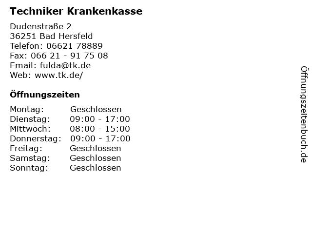 Techniker Krankenkasse in Bad Hersfeld: Adresse und Öffnungszeiten