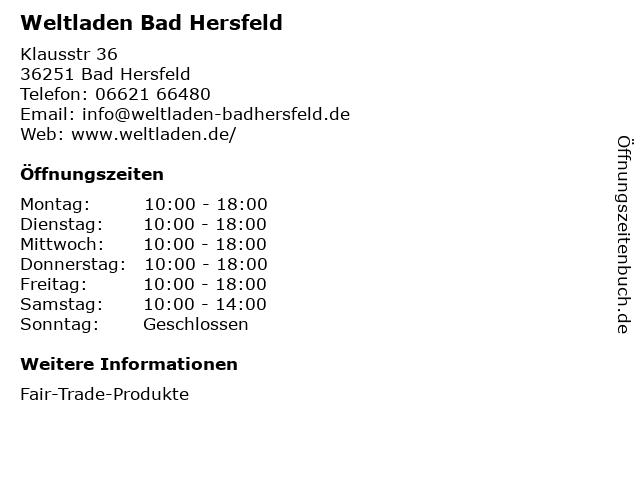 Weltladen Bad Hersfeld in Bad Hersfeld: Adresse und Öffnungszeiten