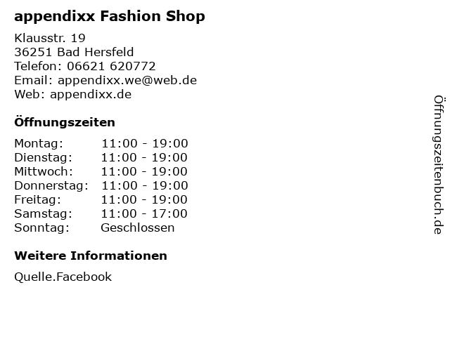 appendixx Fashion Shop in Bad Hersfeld: Adresse und Öffnungszeiten