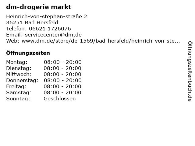 dm-drogerie markt GmbH + Co. KG in Bad Hersfeld: Adresse und Öffnungszeiten