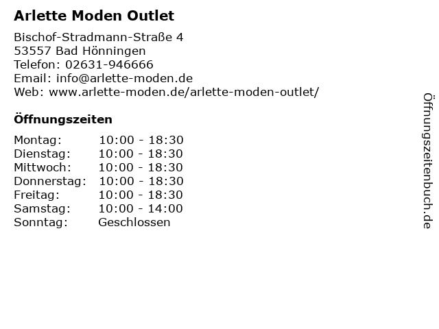 Arlette Moden Outlet in Bad Hönningen: Adresse und Öffnungszeiten