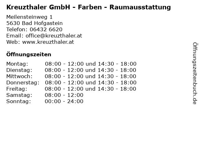 Franz Kreuzthaler-Sendlhofer Raumausstatter in Bad Hofgastein: Adresse und Öffnungszeiten
