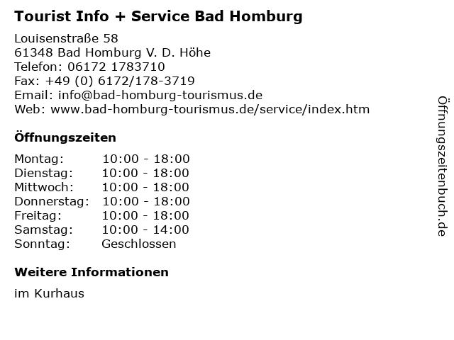 Tourist Info + Service Bad Homburg in Bad Homburg V. D. Höhe: Adresse und Öffnungszeiten
