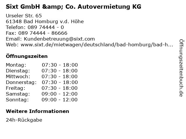 Sixt GmbH & Co. Autovermietung KG in Bad Homburg v.d. Höhe: Adresse und Öffnungszeiten