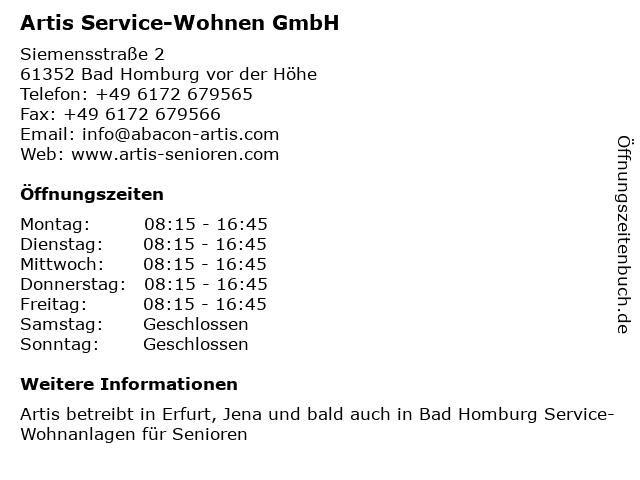 Artis Service-Wohnen GmbH in Bad Homburg vor der Höhe: Adresse und Öffnungszeiten