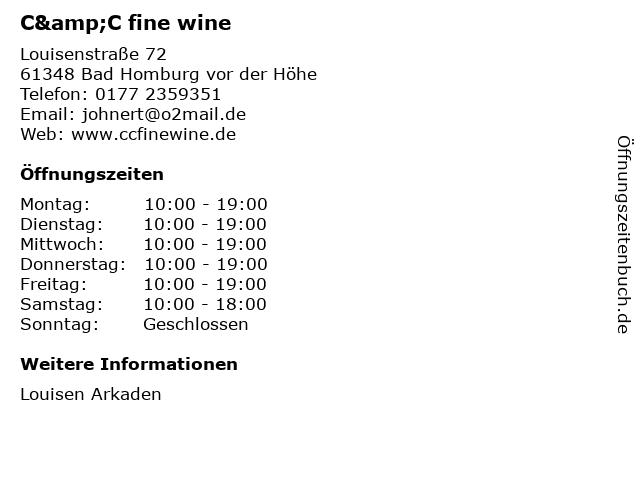 C&C fine wine in Bad Homburg vor der Höhe: Adresse und Öffnungszeiten