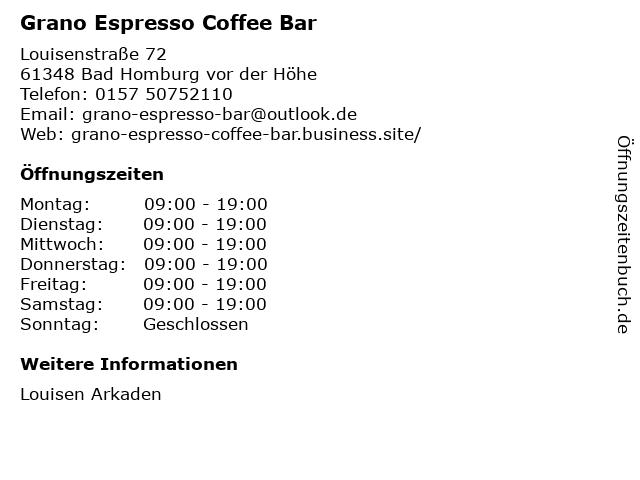 Grano Espresso Coffee Bar in Bad Homburg vor der Höhe: Adresse und Öffnungszeiten