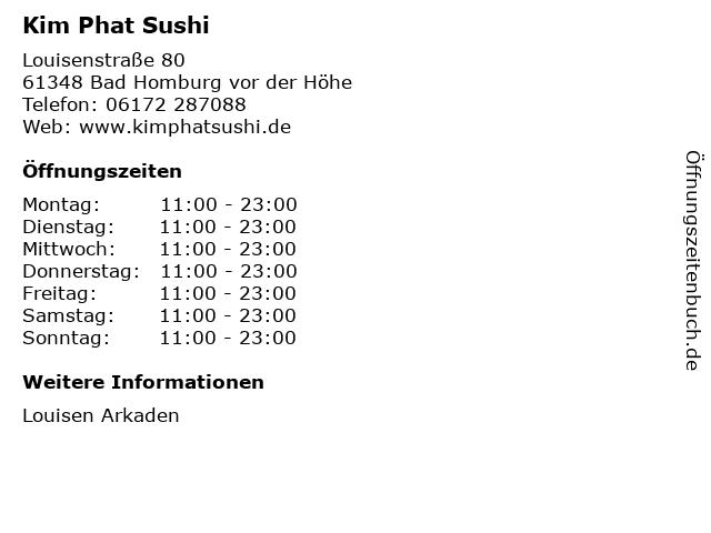 Kim Phat Sushi in Bad Homburg vor der Höhe: Adresse und Öffnungszeiten