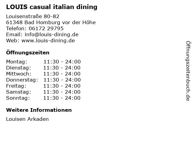 LOUIS casual italian dining in Bad Homburg vor der Höhe: Adresse und Öffnungszeiten