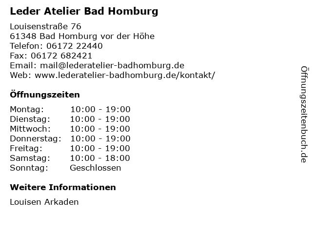 Leder Atelier Bad Homburg in Bad Homburg vor der Höhe: Adresse und Öffnungszeiten