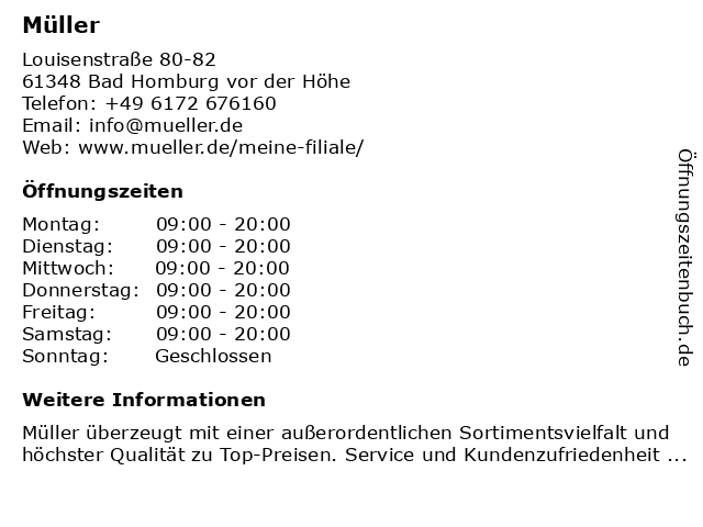 Müller Drogeriemarkt in Bad Homburg vor der Höhe: Adresse und Öffnungszeiten