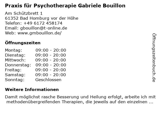 Praxis für Psychotherapie Gabriele Bouillon in Bad Homburg vor der Höhe: Adresse und Öffnungszeiten