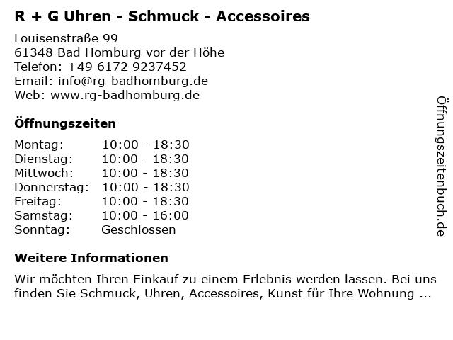 R + G Uhren - Schmuck - Accessoires in Bad Homburg vor der Höhe: Adresse und Öffnungszeiten
