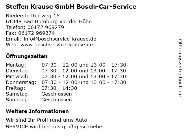 Steffen Krause GmbH Bosch-Car-Service in Bad Homburg vor der Höhe: Adresse und Öffnungszeiten