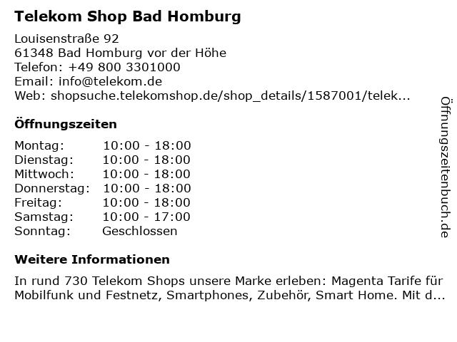 Telekom Shop Bad Homburg in Bad Homburg vor der Höhe: Adresse und Öffnungszeiten