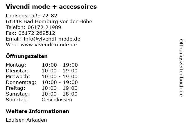 Vivendi mode + accessoires in Bad Homburg vor der Höhe: Adresse und Öffnungszeiten