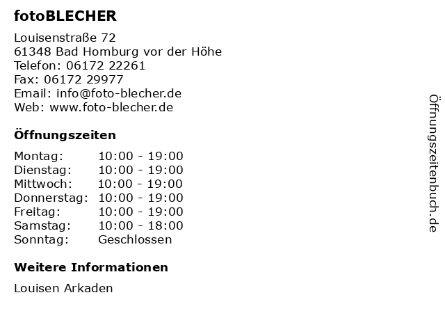 fotoBLECHER in Bad Homburg vor der Höhe: Adresse und Öffnungszeiten