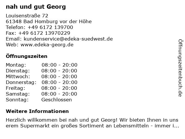 EDEKA Georg in Bad Homburg vor der Höhe: Adresse und Öffnungszeiten