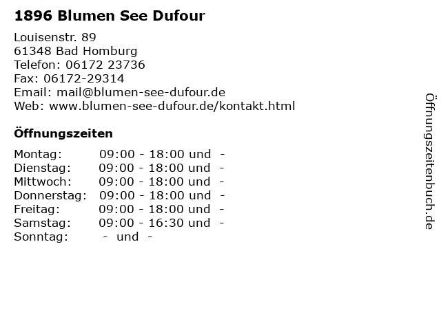 ᐅ Offnungszeiten 1896 Blumen See Dufour Louisenstr 89