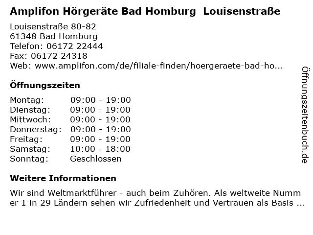 Amplifon Deutschland GmbH in Bad Homburg vor der Höhe: Adresse und Öffnungszeiten