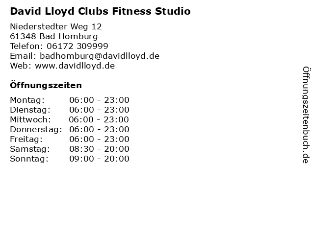 David Lloyd Clubs Fitness Studio in Bad Homburg: Adresse und Öffnungszeiten