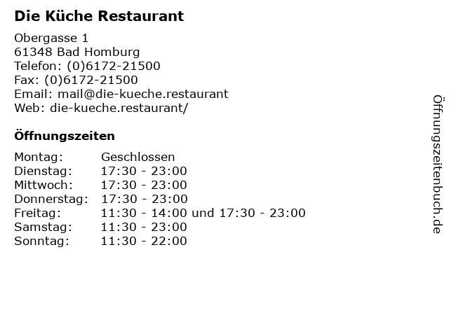 ᐅ Offnungszeiten Die Kuche Restaurant Obergasse 1 In Bad Homburg
