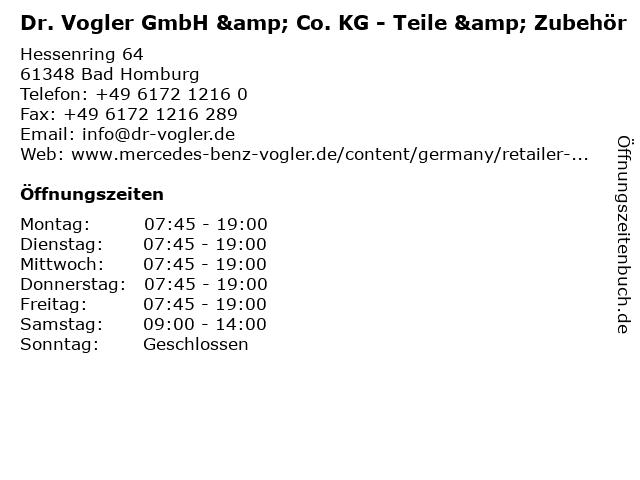 Dr. Vogler GmbH & Co. KG - Teile & Zubehör in Bad Homburg: Adresse und Öffnungszeiten