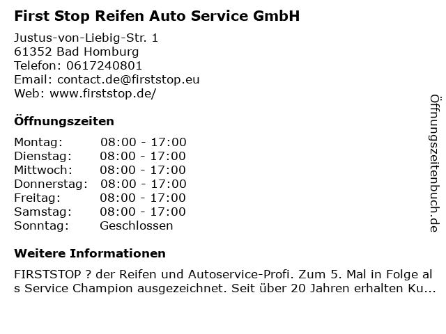 First Stop Reifen Auto Service GmbH in Bad Homburg: Adresse und Öffnungszeiten