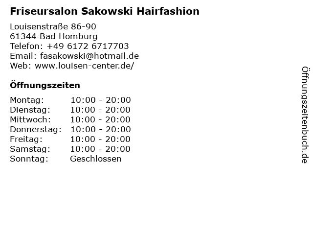 Friseursalon Sakowski Hairfashion in Bad Homburg: Adresse und Öffnungszeiten