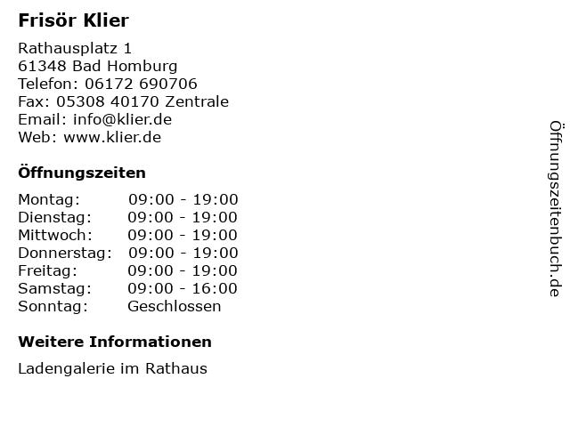 Frisör Klier GmbH in Bad Homburg: Adresse und Öffnungszeiten