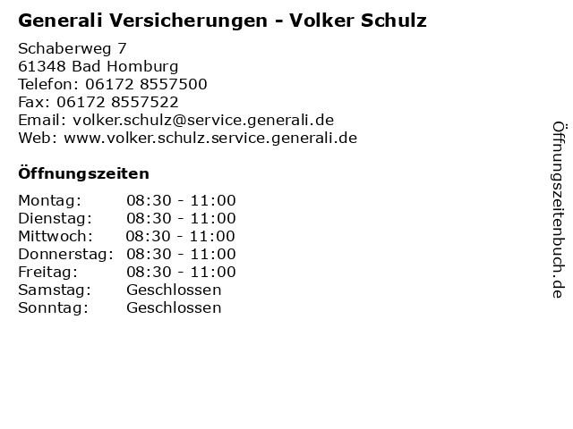 Generali Versicherungen - Volker Schulz in Bad Homburg: Adresse und Öffnungszeiten