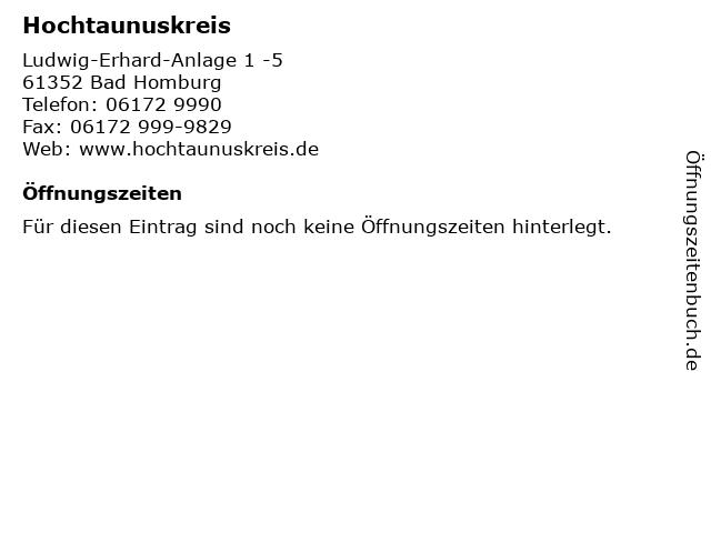 ᐅ Offnungszeiten Hochtaunuskreis Ludwig Erhard Anlage 1 5 In
