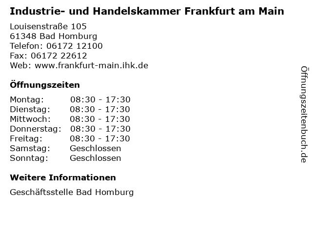 Industrie- und Handelskammer Frankfurt am Main in Bad Homburg: Adresse und Öffnungszeiten