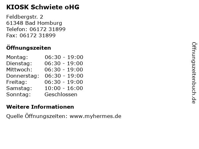 KIOSK Schwiete oHG in Bad Homburg: Adresse und Öffnungszeiten