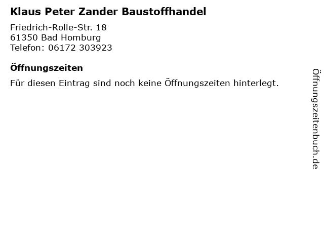 Klaus Peter Zander Baustoffhandel in Bad Homburg: Adresse und Öffnungszeiten