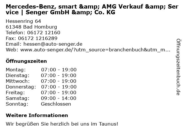 Mercedes-Benz, smart & AMG Verkauf & Service | Senger GmbH & Co. KG in Bad Homburg vor der Höhe: Adresse und Öffnungszeiten