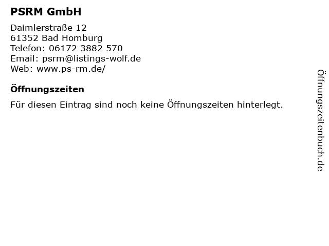 PSRM GmbH in Bad Homburg: Adresse und Öffnungszeiten