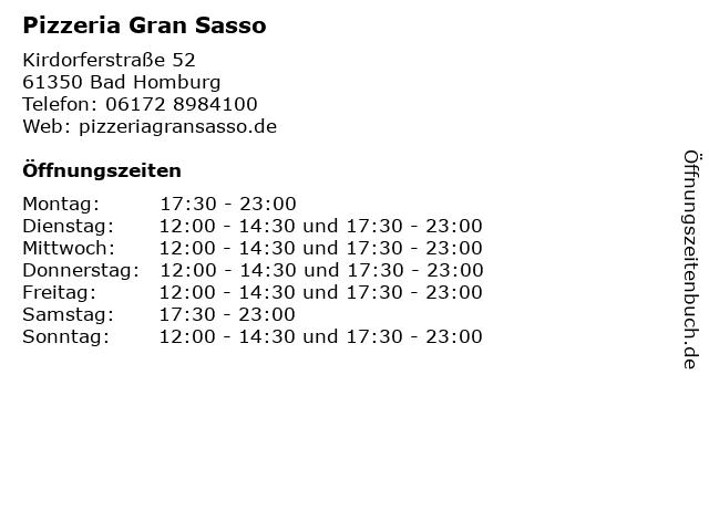 Pizzeria Gran Sasso in Bad Homburg: Adresse und Öffnungszeiten