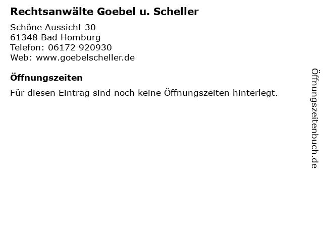 Rechtsanwälte Goebel u. Scheller in Bad Homburg: Adresse und Öffnungszeiten