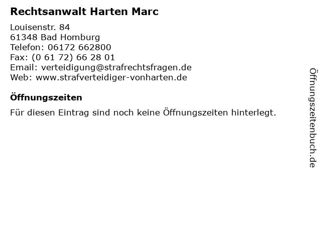 Rechtsanwalt Harten Marc in Bad Homburg: Adresse und Öffnungszeiten