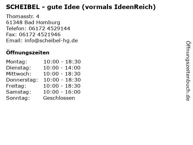SCHEIBEL - gute Idee (vormals IdeenReich) in Bad Homburg: Adresse und Öffnungszeiten