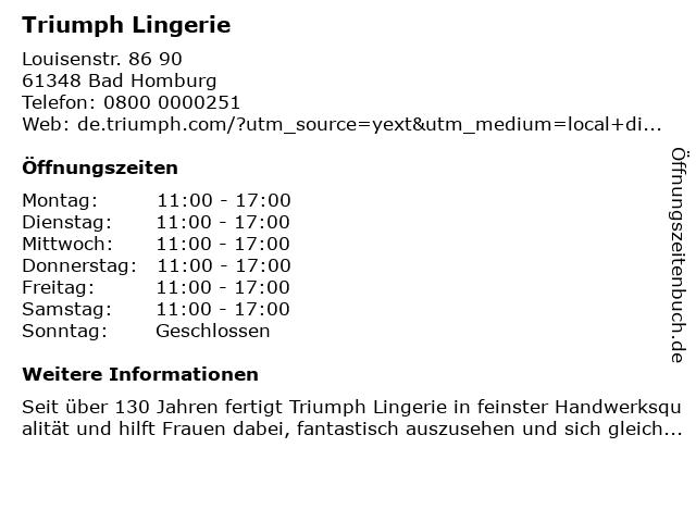 Triumph Lingerie in Bad Homburg: Adresse und Öffnungszeiten
