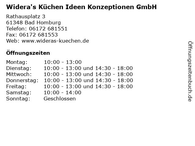 ᐅ Offnungszeiten Widera S Kuchen Ideen Konzeptionen Gmbh Rathausplatz 3 In Bad Homburg