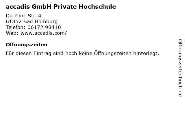 accadis GmbH Private Hochschule in Bad Homburg: Adresse und Öffnungszeiten