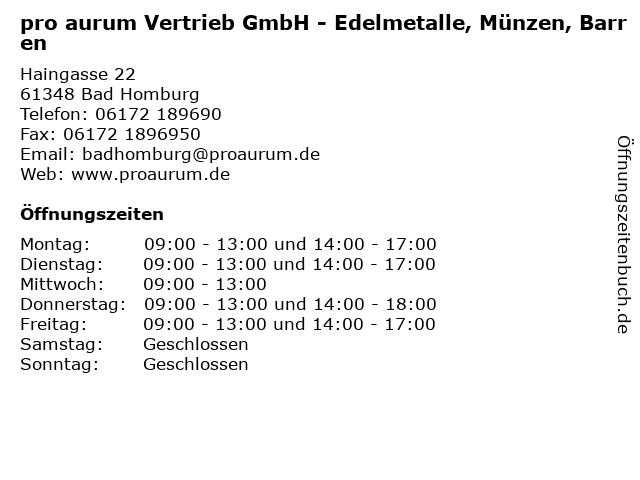 pro aurum Vertrieb GmbH - Edelmetalle, Münzen, Barren in Bad Homburg: Adresse und Öffnungszeiten